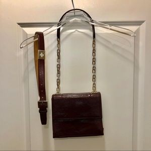 Bally Italian Burgandy Leather Handbag and Belt